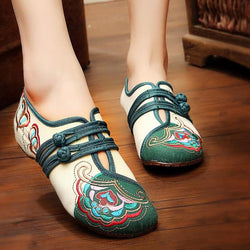 Chinese Embroidered Flower Mary Janes Buckle Casual Flat Loafers - EY Shopping