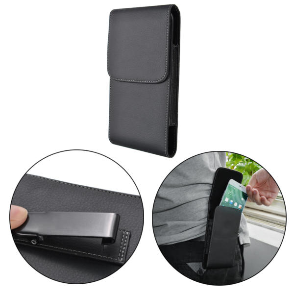 Black Universal PU Leather Magnetic Wallet Waist Bag With Clip For Phone From 5.7 to 6.3 Inch