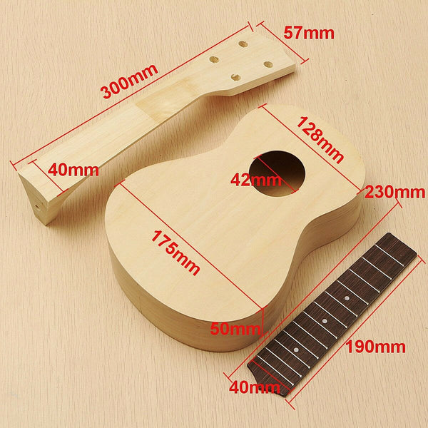 21'' Ukulele Soprano Hawaiian Guitar Kit Basswood Wooden Musical Instrument