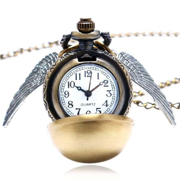 Golden Wings Snitch Quartz Pocket Watch Necklace Steampunk Quidditch Pocket Clock for Men Women