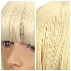 Synthetic Straight Hair 13*4 Ear To Ear Lace Frontal Bobo Wig 8-14'' High Temperature Fiber Blonde Colo