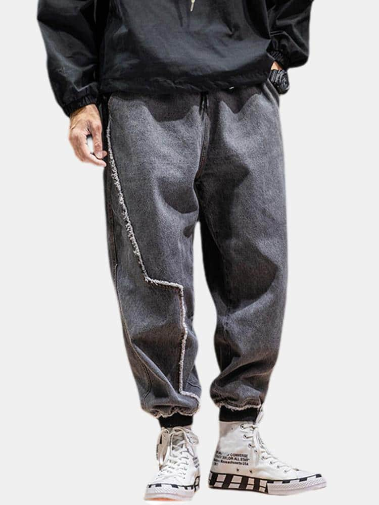 Mens Cotton Vintage Loose Fit Comfy Thick Casual Harem Pants - EY Shopping