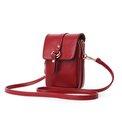 Women Faux Leather Mini Phone Bags Double Layer Crossbody Bags Shoulder Bag