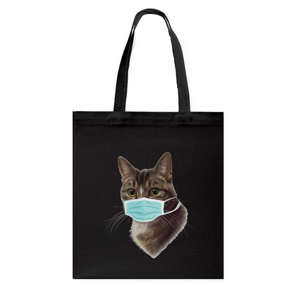 Women Cute Cat Pattern Mask Casual Canvas Tote Shoulder Bag - EY Shopping