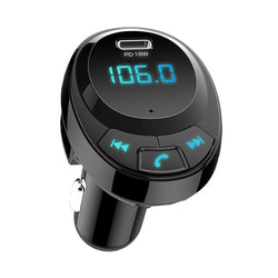Bakeey Digital Display bluetooth 5.0 QC3.0 PD Dual Type-C USB Hands-Free Car Kit FM Transmitter Audio USB Car Charger for iPhone 11 Pro Max for Samsung S20 HUAWEI Xiaomi Redmi K30