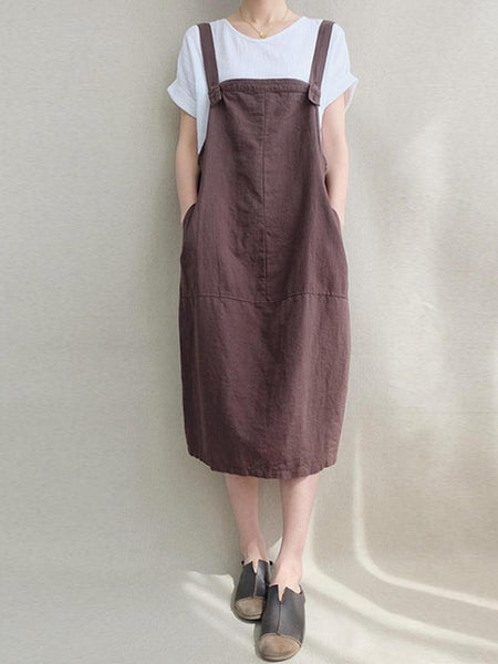 Casual Women Solid Color Cord Pocket Pinafore Dress - EY Shopping