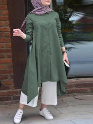 Women Retro Solid Color Turn-down Collar Button High Low Hem Shirt Dress - EY Shopping