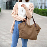 Women Durable Thicker Canvas Handbag Light Casual Large Capacity Shoulder Bag - EY Shopping