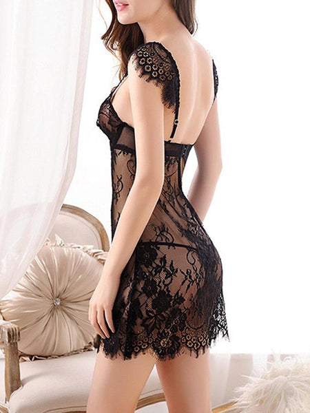 Women Ultra Romantic Lace Nightdress Underwire Bra Special Straps Sleepwear Chemise - EY Shopping