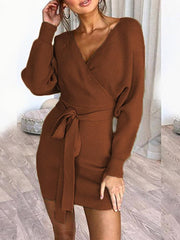 Women Solid Color V-neck Long Sleeves Backless Mini Dress - EY Shopping