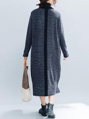 Women Vintage Patchwork Knit Funnel Neck Loose Dress - EY Shopping