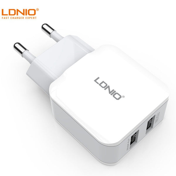 LDNIO A2202 Dual USB Charger Travel Wall Adapter European Standard Fast Charging For iPhone 12 XS 11Pro Xiaomi Mi10 POCO X3 S20+ Note 20