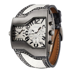 OULM 1220 Multi Time Zone Men Watch Decoration Dials Leather Strap Quartz Watch