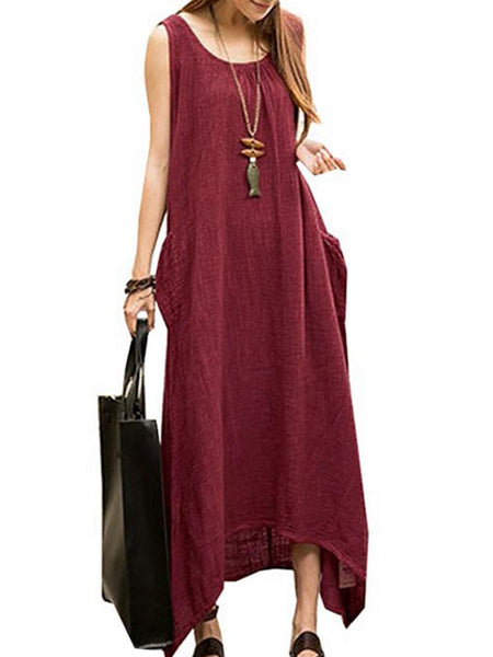 Vintage Casual Women Sleeveless High Low Cotton Maxi Dress - EY Shopping