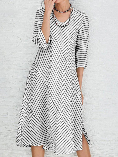 Women Long Sleeve O-neck Stripe Casual Dress - EY Shopping