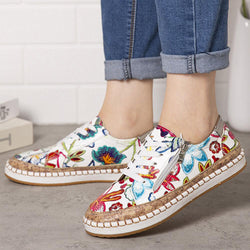 Women Folkways Printing Comfy Non Slip Casual Chunky Flats Shoes - EY Shopping