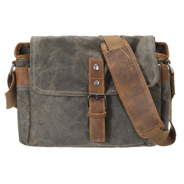 Retro Canvas Leather Trim DSLR SLR Shockproof Camera Messenger Vintage Bag Waterproof Shoulder Bags