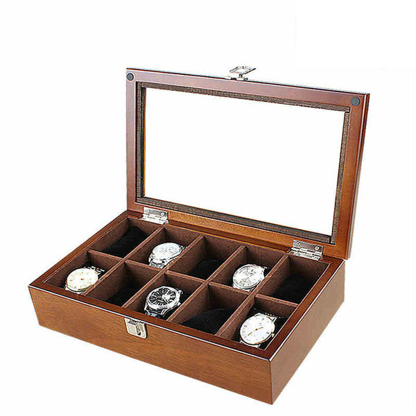 10 Slots Wooden with Skylight Watch Box Jewellery Display Collection Storage Box