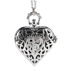 DEFFRUN Silver Heart Shape Hollow Quartz Pocket Watch