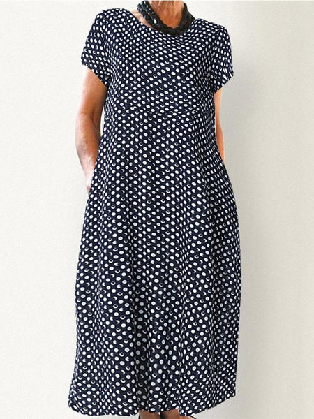 Women Crewneck Polka Dot Print Short Sleeve Midi Dress - EY Shopping