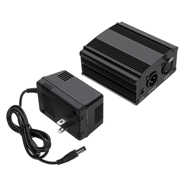 XLR 48V Phantom Power Supply for Microphone with Adapter