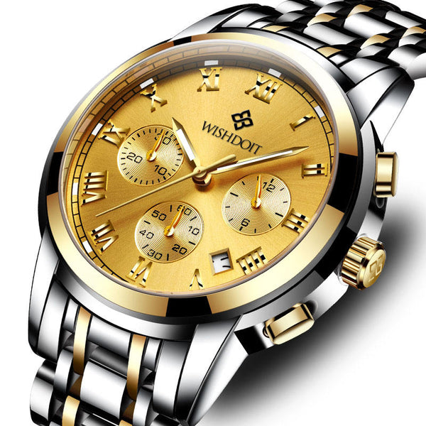 WISHDOIT WSD-016 Men Watch Fashion Chronograph Stainless Steel Strap Wrist Watch
