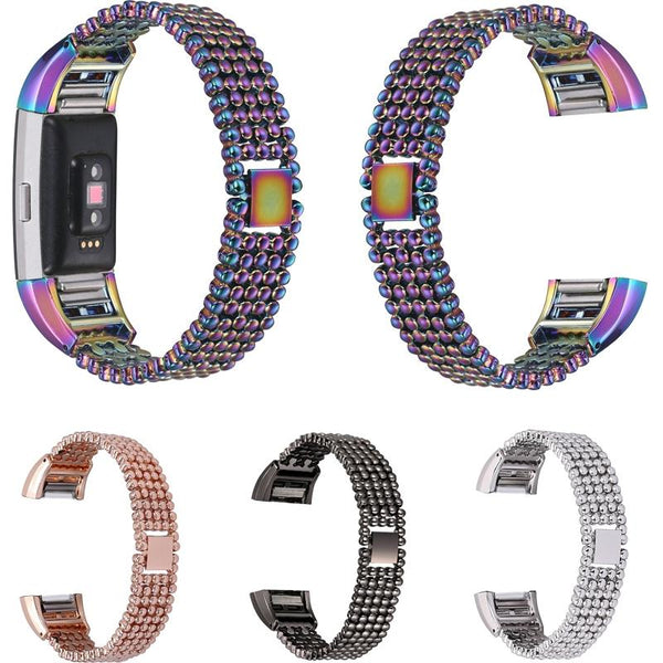 15mm Metal Watch Band High Quality 5 Rows Stainless Steel Strap Replacement for Fitbit Charge 2