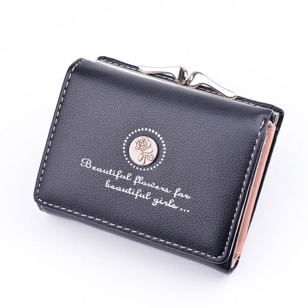 Women PU Leather Floral Clutch Short Solid Buckle Ladies Wallet Mini Portable Credit Card Purse
