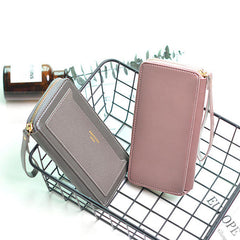 Women Multi-function Faux Leather Wallet 6 Inch Phone Bag Card Holder Casual Clutch
