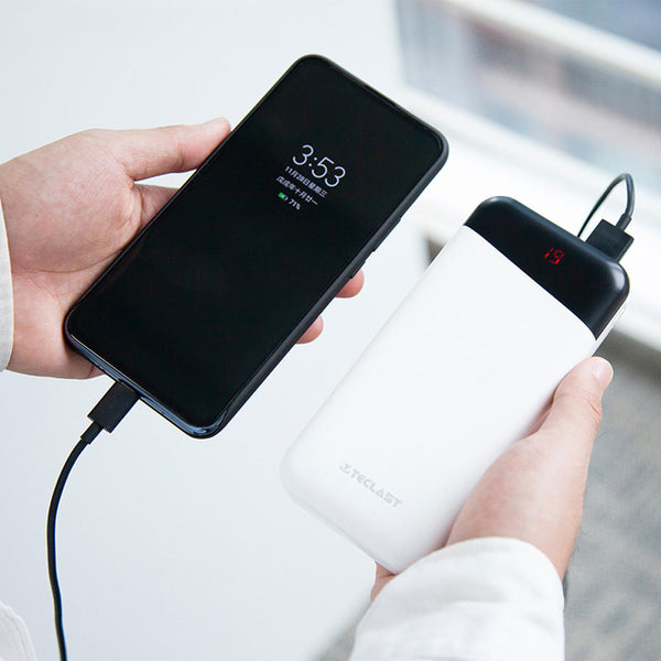 Teclast 20000mAh Dual USB Output LED Display Fast Charging Power Bank For iPhone X XS Xiaomi Mi9 S10 + Note 10
