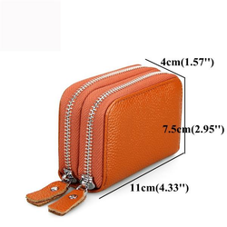 Women Men RFID Antimagnetic Genuine Leather Zipper Card Holder Purse Wallet