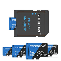 StickDrive 16GB 32GB 64GB 128GB Class 10 High Speed Max 80Mb/s TF Memory Card With Card Adapter For Mobile Phone Tablet Camera Speaker Car DVR