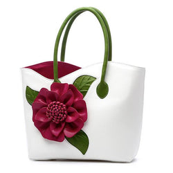Women PU Leather Flower Decoration Elegant Handbag Sling Bag National Style Tote Bag - EY Shopping