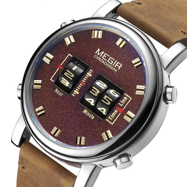 MEGIR 2137 Business Style Leather Strap Men Wrist Watch Unique Design Quartz Watches