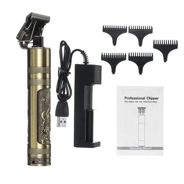 1200mAh Professional Cordless Electric Hair Clipper USB Direct Charging Hair Trimmer Shaver With 4 Limit Combs Dragon And Phoenix Carving