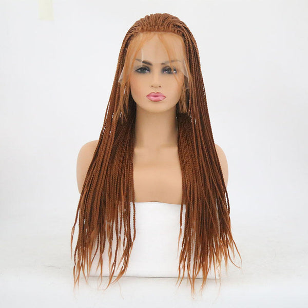 African Three-stranded Front Lace Chemical Fiber Wig - Dark Brown