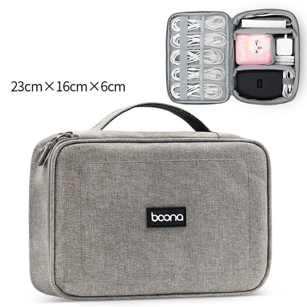Boona 23cm*16cm Digital Accessories Storage Bag U Disk Memory Card USB Cable USB Charger Organizer Travel Bag