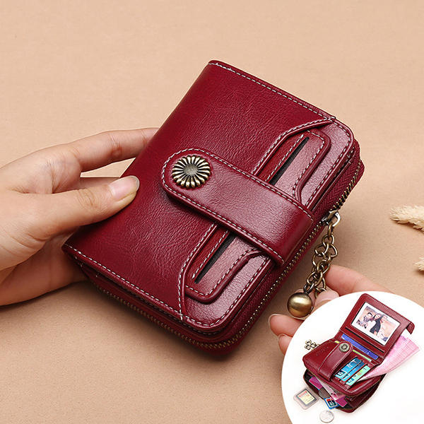 Women Genuine Leather Short Section Multi-function Coin Purse Card Holder Wallet