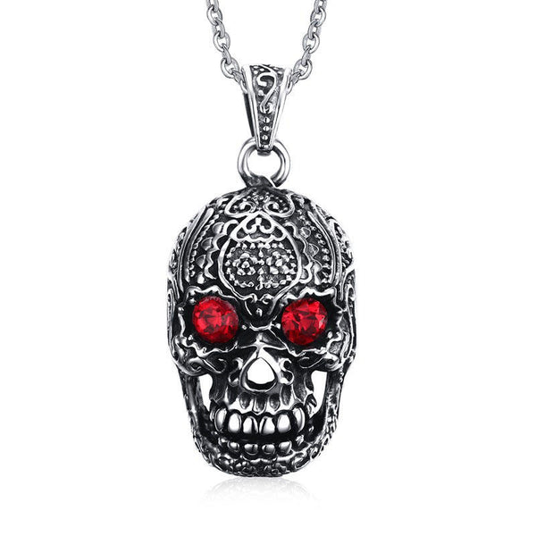 Fashion Men's Jewelry Titanium Steel Chain Red Eye Skull Pendant Necklace for Men