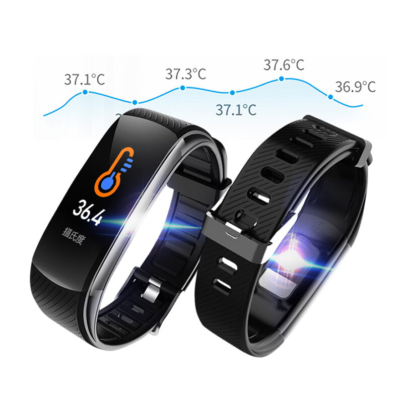 Bakeey C6T Body Temperature Heart Rate Blood Oxygen Monitor Brightness Control Weather Display Fitness Tracker Smart Watch