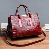 Women Fashion Crocodile Pattern Vintage Tote Large Capacity Big Bag Shoulder Bag Handbag - EY Shopping