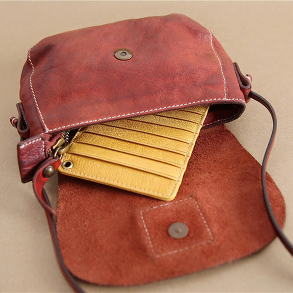 Genuine Leather Women Men Vintage Multiple Card Holder 20 Card Slot