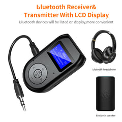Bakeey 2 in 1 LCD Display bluetooth 5.0 HD 3.5mm Audio Receiver Transmitter Handsfree Adapter for Mobile Phone / Tablet PC / Wired Speaker / Non-bluetooth Feature Phone