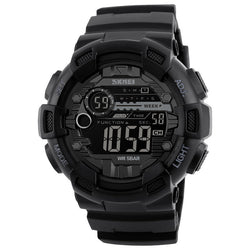 SKMEI 1243 Luminous Week Display Stopwatch Countdown 5ATM Waterproof Dual-time Sport Men Digital Watch