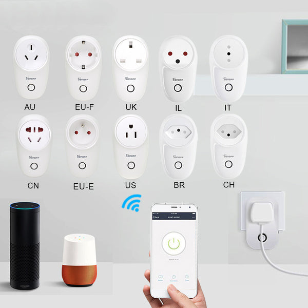 SONOFF S26 10A AC90V-250V Smart WIFI Socket CN/US/UK/AU/DE/FR/BR/CH/IL/IT Wireless Plug Power Sockets Smart Home Switch Work With Alexa Google Assistant IFTTT