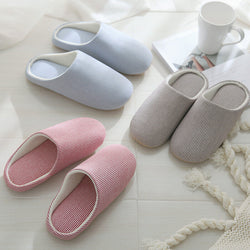 Women Striped Comfy Home Shoes Slippers