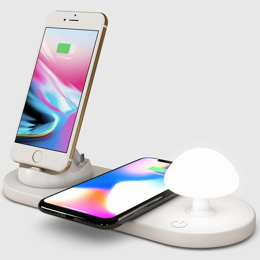 Bakeey 10W 3 In 1 Mushroom Night Light Quick Charging Wireless Charger For iPhone 11 Pro XS Huawei P30 Xiaomi Mi9 S10+ Note 10