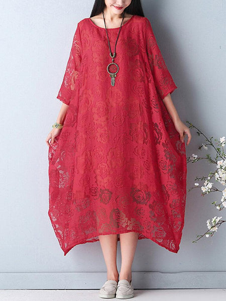 Elegant Women O-Necklace Crochet 3/4 Sleeve Pure Color Midi Dress - EY Shopping