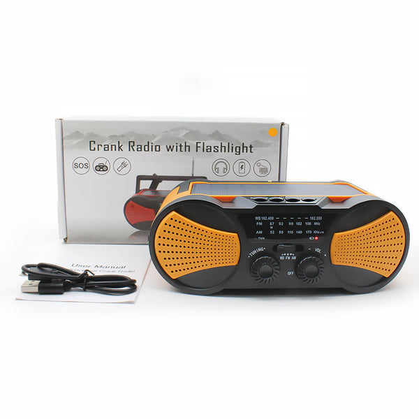 AM FM NOAA Weather Radio Solar Crank Emergency Flashlight Rechargeable Power Bank for iPhone Huawei Mobile Phone