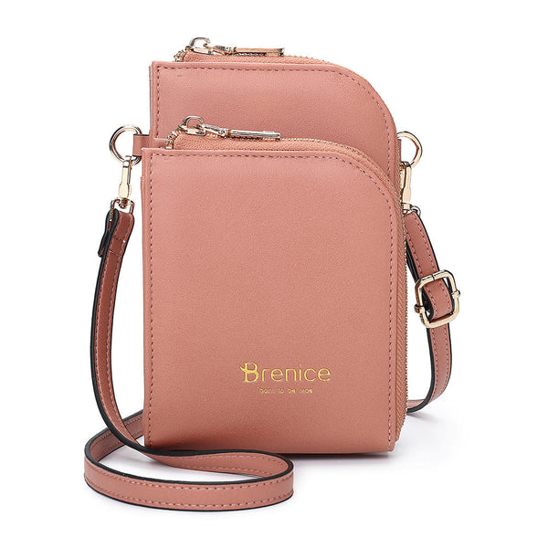 Brenice  Women Multi-Slot Comestic Crossbody Bag Mini Phone Bag